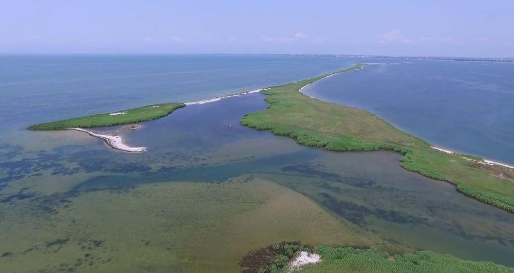 Заповедный остров Дзендзик в Бердянске засняли с дрона - видео