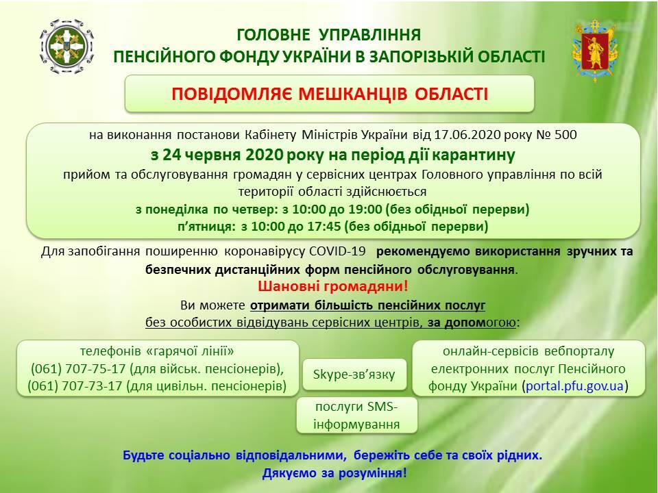 Режим роботи сервісного центру Головного управління Пенсійного фонду України в Запорізькій області