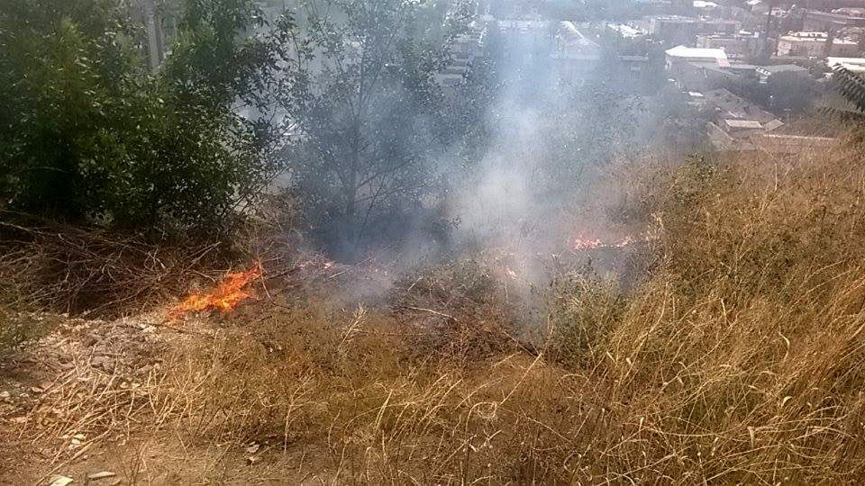 В Бердянске на склоне горы снова горела трава. Всего за неделю в городе и районе произошло 37 пожаров