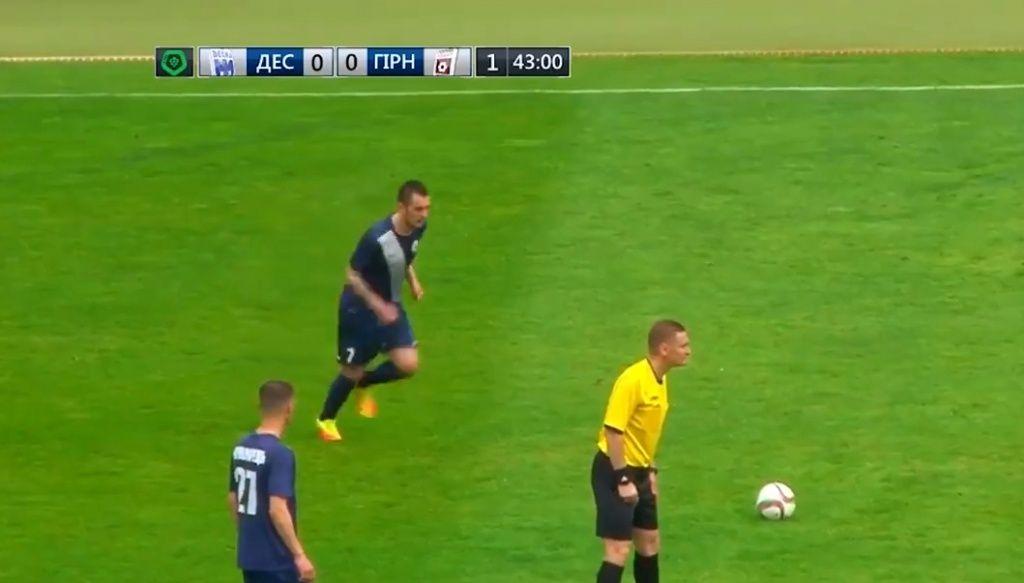 Крутой мяч бердянца Евгения Чепурненко в первой лиге Украины по футболу