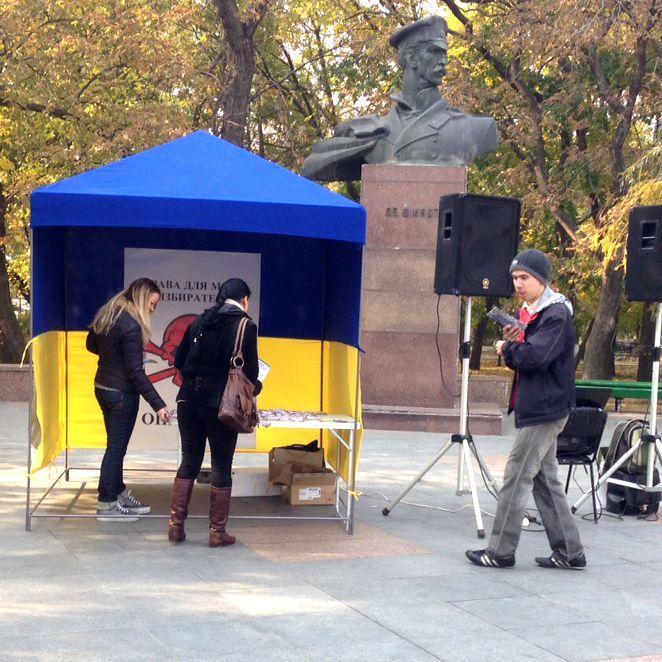 """В Бердянске проходят уличные акции: """"Привлечение молодежи к выборам 2015"""""""