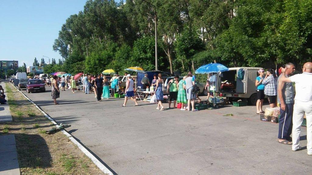 В Бердянске разогнали стихийный рынок по улице Тищенко