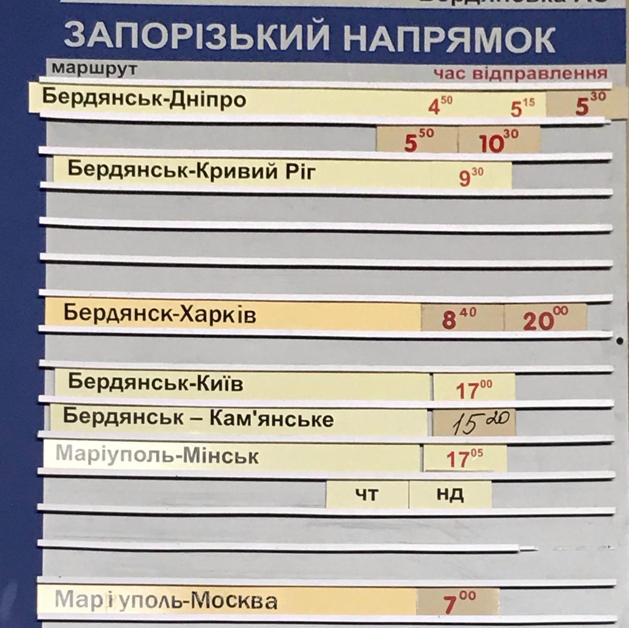 Запорожское направление расписание Бердянского автовокзала